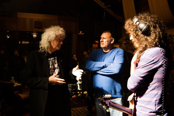 Queen's Brian May, producer Graham King, actor Gwilym Lee - BOHEMIAN RHAPSODY