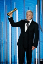 "BEVERLY HILLS, CALIFORNIA - JANUARY 06: In this handout photo provided by NBCUniversal, Michael Douglas from the ""The Kominsky Method"" accepts the Best Performance by an Actor in a Television Series – Musical or Comedy award onstage during the 76th Annual Golden Globe Awards at The Beverly Hilton Hotel on January 06, 2019 in Beverly Hills, California. (Photo by Paul Drinkwater/NBCUniversal via Getty Images)"